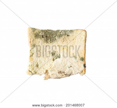 mold bread that expired isolated on white background