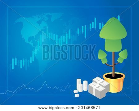 Forex marke trading Stock Market Investment vector illustration.
