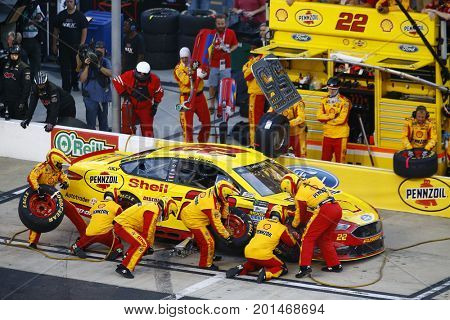 August 19, 2017 - Bristol, Tennessee, USA: Joey Logano (22) brings his car down pit road for service during the Bass Pro Shops NRA Night Race at Bristol Motor Speedway in Bristol, Tennessee.