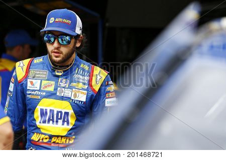 August 18, 2017 - Bristol, Tennessee, USA: Chase Elliott (24) hangs out in the garage during practice for the Bass Pro Shops NRA Night Race at Bristol Motor Speedway in Bristol, Tennessee.