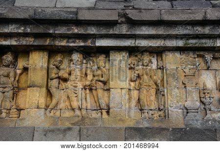 Carved Relief At Borobudur On Java, Indonesia