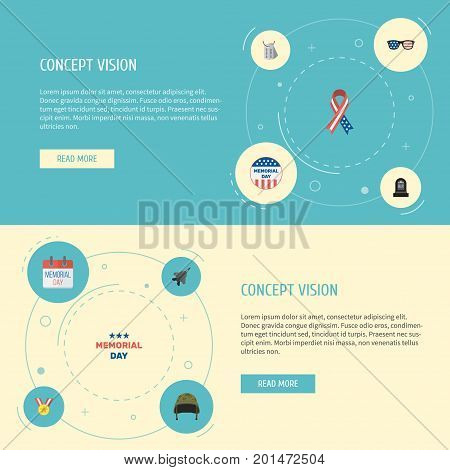 Flat Icons Usa Badge, Medallion, Soldier Helmet And Other Vector Elements