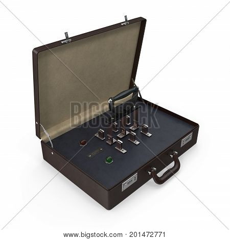 3D rendering of briefcase with built-in retro knife switch and indicator lights. Isolated on white background.