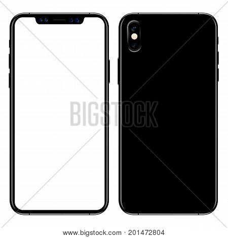 new phone front and black vector drawing eps10 format isolated on white background