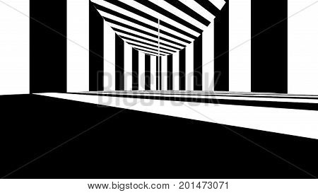Abstract optical art. Black and white lines. 3d rendering