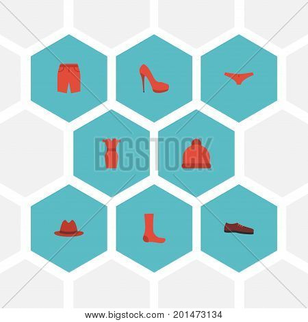 Flat Icons Swimming Trunk, Hosiery, Man Footwear And Other Vector Elements
