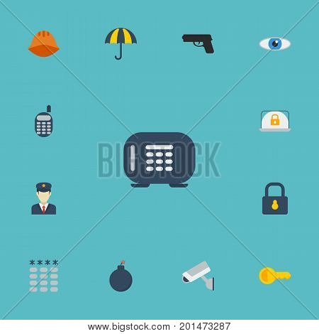 Flat Icons Hardhat, Clue, Parasol And Other Vector Elements