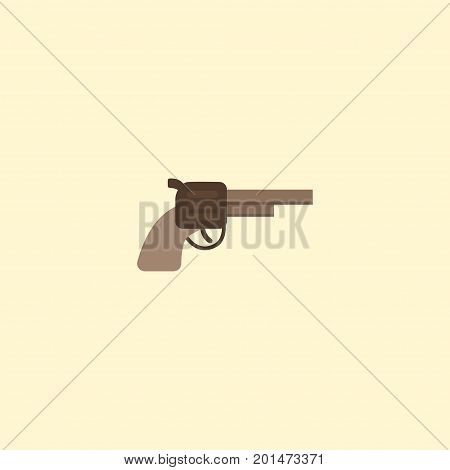 Flat Icon Gun Element. Vector Illustration Of Flat Icon Revolver Isolated On Clean Background