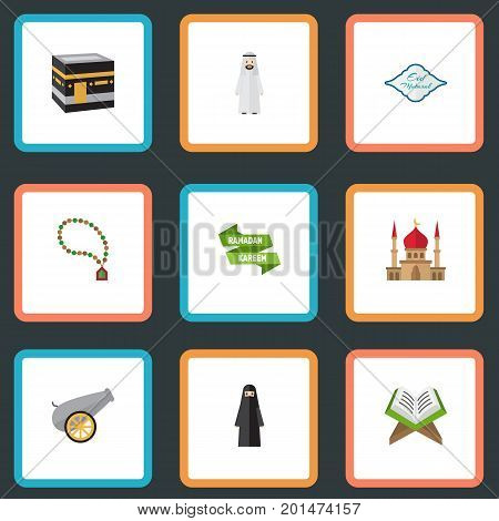 Flat Icons Muslim Woman, Mecca, Arabic Calligraphy And Other Vector Elements