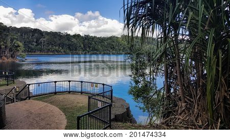 Lake Eacham is a popular lake of volcanic origin on the Atherton Tableland of Queensland Australia