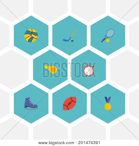 Flat Icons Puck, American Football, Reward And Other Vector Elements