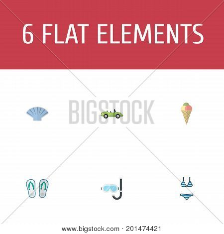 Flat Icons Slippers, Sorbet, Aqualung And Other Vector Elements