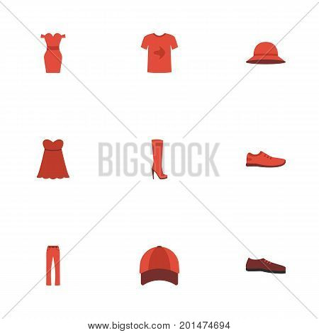 Flat Icons Sundress, Casual, Man Footwear And Other Vector Elements