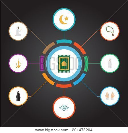 Flat Icons Palm, Muslim Woman, Praying Man And Other Vector Elements