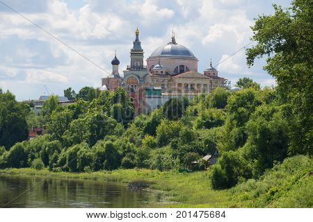 View of the Cathedral of Boris and Gleb on a sunny July day. Boris and Gleb man's monastery. Torzhok, Russia