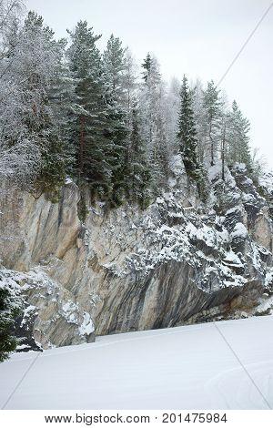 Marble canyon coast on a gloomy January day. Ruskeala, Karelia