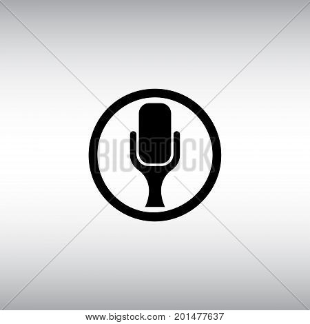 Microphone flat vector icon. Isolated microphone vector sign. Sound record round vector button.