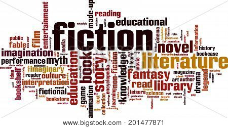 Fiction word cloud concept. Vector illustration on white
