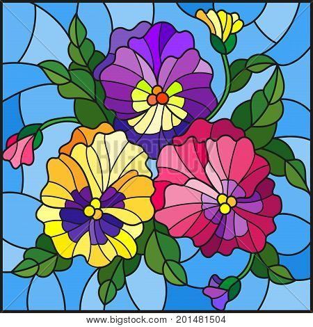 Illustration in stained glass style with flowers buds leaves and flowers of pansy