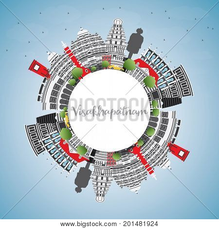Visakhapatnam Skyline with Gray Buildings, Blue Sky and Copy Space. Business Travel and Tourism Concept with Historic Architecture. Image for Presentation Banner Placard and Web.