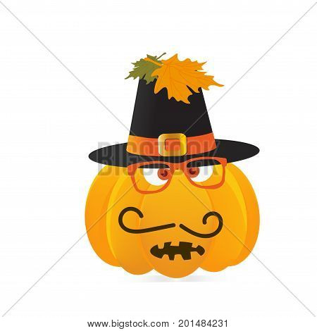 Thanksgiving dinner or feast pilgrim pumpkin character face with traveler hat on.