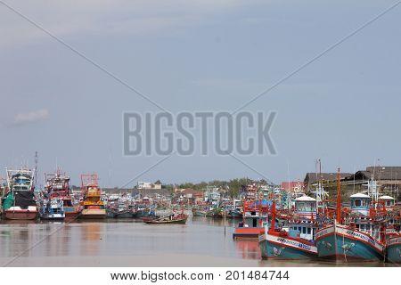 Rayong Thailand,August 14,2017 : Fishing boat at Pak Nam Rayong River Rayong Thailand.