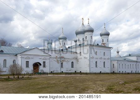 The Spassky Cathedral of St. George's Monastery on a gloomy April day. Veliky Novgorod, Russia