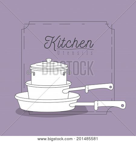 color lilac background with decorative frame vintage and set silhouette stack of pots and pans kitchen utensils vector illustration