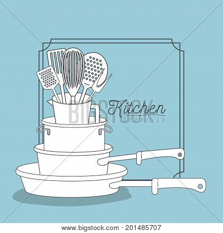 color blue background with decorative frame vintage and set silhouette stack of pots and pans kitchen utensils over vector illustration