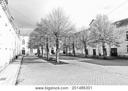 Patio of the Belgian house with park. The old pavement in St Hubert Belgium. Black and White Picture