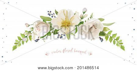 Flower Bouquet vector design object element Light pink rose white camellia magnolia silver sage forest fern leaves privet blue berry delphinium herbal mix Lovely floral wreath decorative elegant card