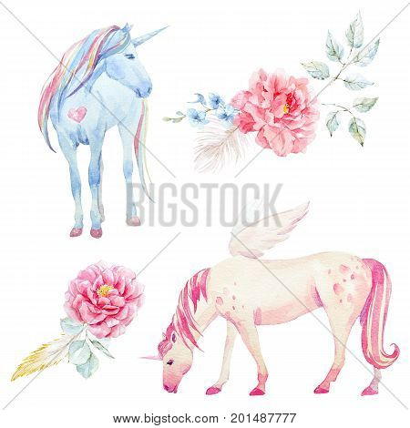 Beautiful set with hand drawn watercolor unicorn pegasus and flowers