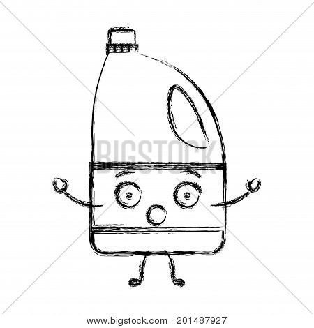 monochrome blurred cartoon silhouette of bleach clothes bottle vector illustration