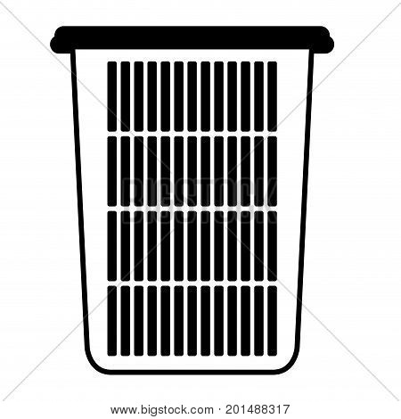 black sections silhouette of tall laundry basket without handles vector illustration