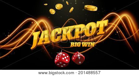 Jackpot sign decoration. Vector banner for casino. Template with coins money dice