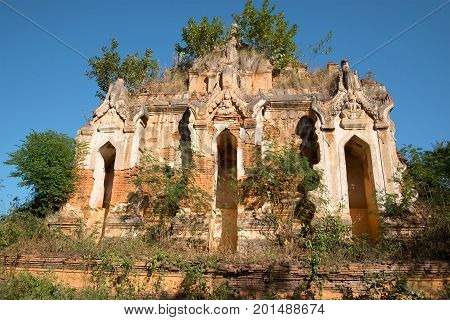 Ruins of the ancient Buddhist temple in the territory of a pagoda of Shwe Indein Pagoda. Vicinities of the Inle lake Burma