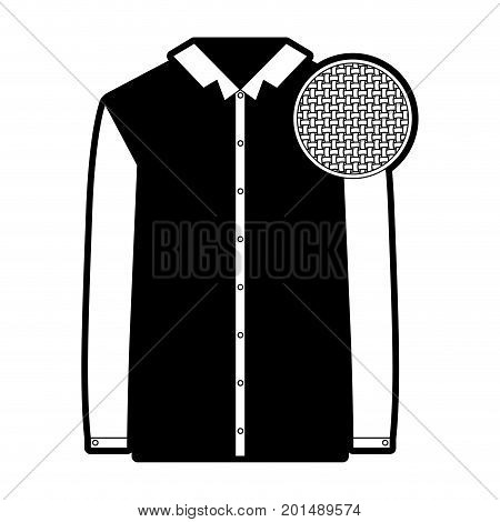 black sections silhouette of shirt long sleeve man and circle of macro textile pattern vector illustration