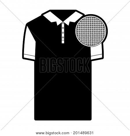 black sections silhouette of polo shirt short sleeve man and circle of macro textile pattern vector illustration