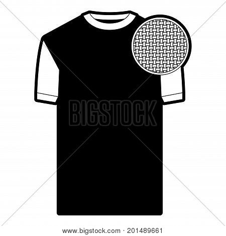 black sections silhouette of t-shirt man and circle of macro textile pattern vector illustration