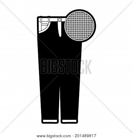 black sections silhouette of female pants and circle of macro textile pattern vector illustration