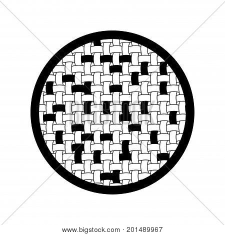 black sections silhouette of circle with macro seamless textile pattern vector illustration