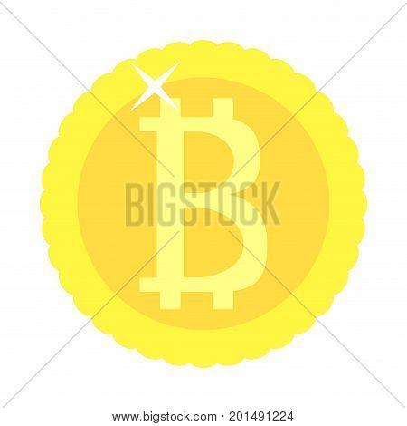 Bitcoin coin golden isolated. Btc money virtual vector electronic crypto money illustration