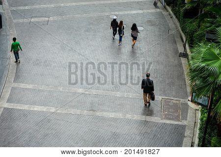 People walking on the street High angle view bird eye view