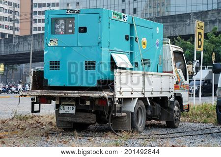 Bangkok Thailand - December 11 2016: Electric generator on a small truck in the parked near an outdoor event