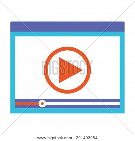 colorful silhouette of window with start playback icon vector illustration