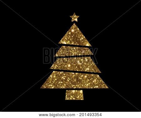 Vector Golden Glitter Christmas Tree Flat Icon