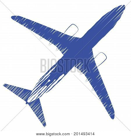 Airplane Top View. Vector Illustration Airplane. Airline Concept Travel Passenger Plane. Icon Of Jet