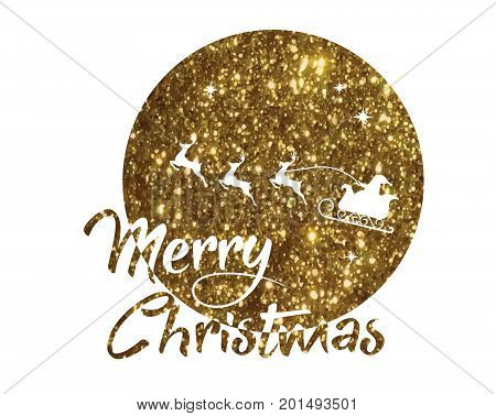 Golden Glitter Santa Claus, Reindeer And Moon Poster With Merry Christmas Word