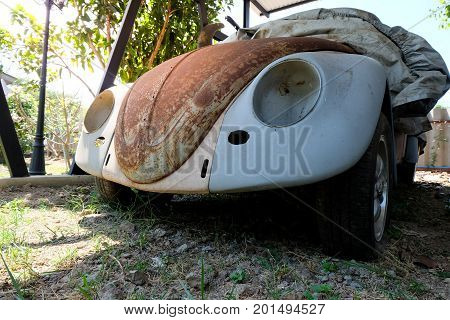 Bangkok, Thailand - February 17, 2017: Volkswagen old rusted car wreck in the parking