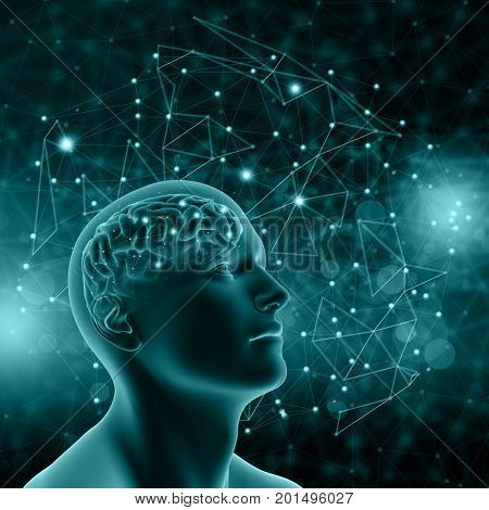 3D render of a male figure with brain on background with connecting dots and lines